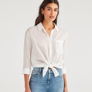 7 for All Mankind Knot Front Button Up Top S New!